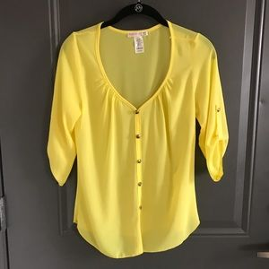 Bright Yellow 3/4 Sleeve Sheer Shirt Blouse